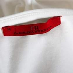CH Carolina Herrera White Star Fish Embellished Stretch Cotton Top M