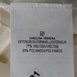 CH Carolina Herrera Off White Knit Peplum Cardigan XS