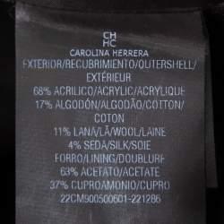 CH Carolina Herrera Black Lurex Tweed Knot Detail Midi Dress XL