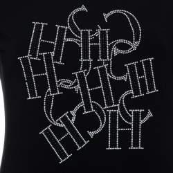 تي شيرت سي أتش كارولينا هيريرا ربع كم مزخرف شعار الماركة قطن أسود مقاس صغير (سمول)
