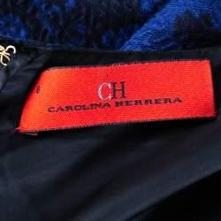 فستان سي أتش كارولينا هيريرا قصير ذو حزام جاكارد أسود و بنفسجي مقاس وسط (ميديوم)