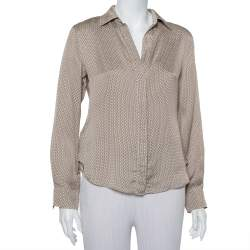 CH Carolina Herrera Beige Logo Printed Silk Button Front Shirt M