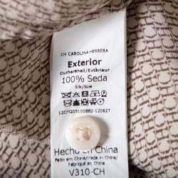 CH Carolina Herrera Beige Logo Printed Silk Button Front Shirt M