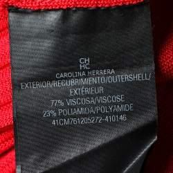 CH Carolina Herrera Red Rib Knit Flared Dress M