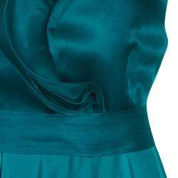 CH Carolina Herrera Green Ruffle Silk Gown M