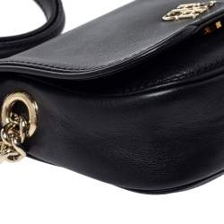 Carolina Herrera Black Leather Flap Crossbody Bag