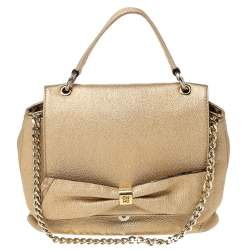 CH Carolina Herrera Metallic Gold Leather Bow Top Handle Bag