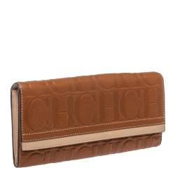 Carolina Herrera Brown/Beige Leather Embossed Flap Wallet