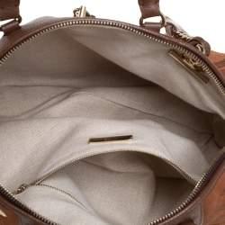 Carolina Herrera Brown Monogram Suede and Leather Dome Satchel