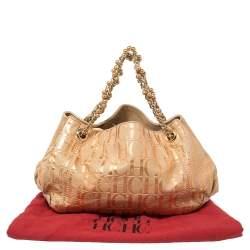 حقيبة يد كارولينا هيريرا يد سلسلة سويدي مونوغرامي بيج