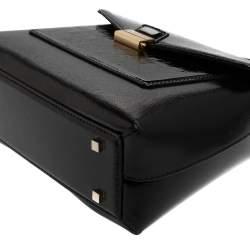 Carolina Herrera Black Monogram Patent Leather Flap Top Handle Bag