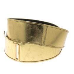 Chanel Gold Distressed Leather Waist Belt 90cm