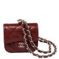 Chanel Red Quilted Caviar Leather AirPods Pro Case on Chain