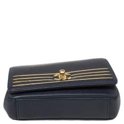 Chanel Navy Blue Caviar Leather Captain Gold Waist Bag