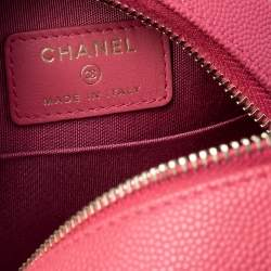 Chanel Red Quilted Caviar Leather Round CC Filigree Crossbody Bag