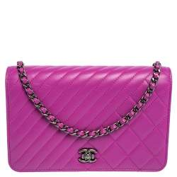 Chanel Purple Quilted Lambskin Leather Coco Boy Wallet on Chain