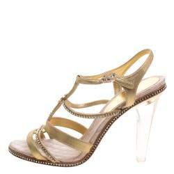 Chanel Metallic Gold CC Crystal Embellished Suede Lucite Heel Strappy Sandals Size 41