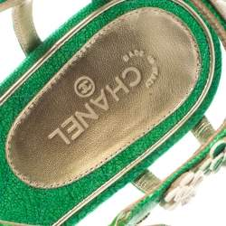 Chanel Green Leather CC Camellia Thong Flat Sandals Size 40