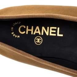 Chanel Gold/Black Leather Bow CC Cap Toe Ballet Flats Size 38.5