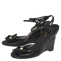 Chanel Black Leather Camellia Wedge Ankle Strap Sandals Size 38