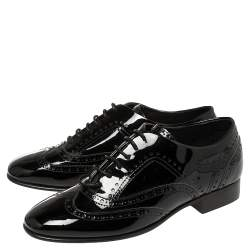 Chanel Black Patent Leather Brogue Lace-Up Oxfords Size 38