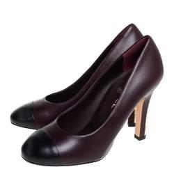 Chanel Burgundy/Black Leather Cap Toe CC  Pearl Embellished Heel Pumps Size 39