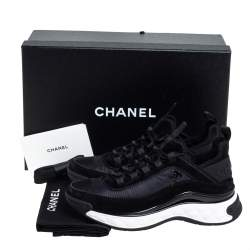 Chanel Black Suede And Nylon CC Low Top Sneakers Size 36