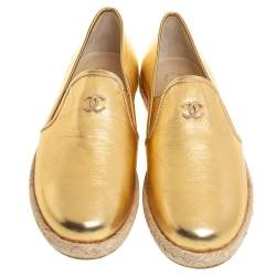 Chanel Metallic Gold Leather CC Espadrille Loafers Size 36