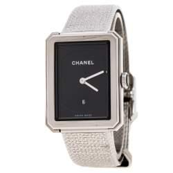 Chanel Black Stainless Steel Guilloche Boy-Friend H4878 Women's Wristwatch 27 mm