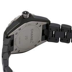 Chanel Black Ceramic J12 H4196 Quartz Women's Wristwatch 29 MM