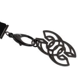 Chanel CC Crystal Embellished Black Ribbon Pendant Necklace