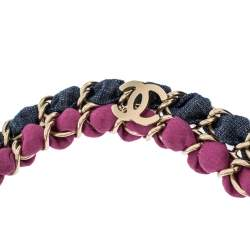 Chanel Multicolor Fabric Gold Tone Chain Embellished Headband
