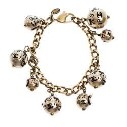 Chanel CC Faux Pearl Charm Gold Tone Chain Link Bracelet