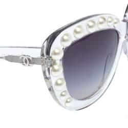 نظارة شمسية شانيل عين قطة لؤلؤ 70196 متدرجة سوداء/ شفافة