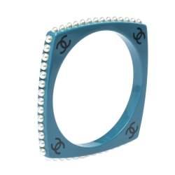 Chanel CC Blue Resin Faux Pearl Square Bangle Bracelet