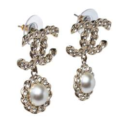 Chanel Pale Gold Tone Crystal & Faux Pearl CC Drop Earrings