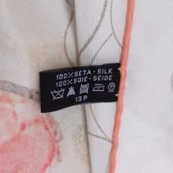 Chanel White & Coral Camellia Print Silk Scarf