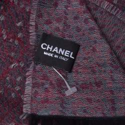Chanel Navy Blue & Red Cashmere Scarf