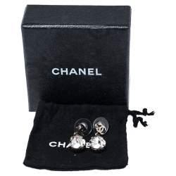 Chanel CC Crystal Silver Tone Teardrop Earrings