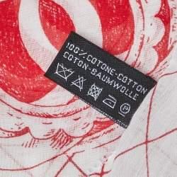 Chanel White & Red Cuba Cotton Scarf