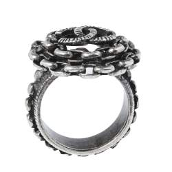 Chanel Aged Silver Tone Chain Link CC Cocktail Ring Size EU 54.5