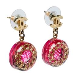 Chanel Pink Tweed Inlay Round CC Drop Earrings