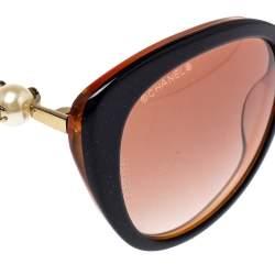 Chanel Brown/Black Gradient CC Faux Pearl Cat Eye Sunglasses