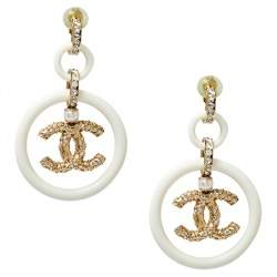 Chanel Cream Resin Crystal Embedded CC Drop Clip On Earrings