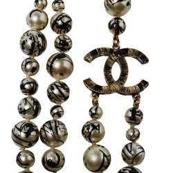 Chanel CC Paint Splatter Faux Pearl Gold Tone Layered Necklace