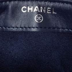 Chanel Blue Quilted Caviar Leather CC Phone Holder Clutch