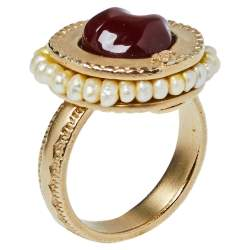Chanel Dark Red Stone Cocktail Ring Size EU 52