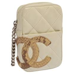 Chanel Off White/Beige Python Embossed and Leather Cambon Cigarette Case Holder
