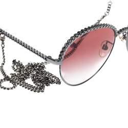 نظارة شمسية شانيل مستديرة بانتون 4242 متدرجة وردية/ سلسلة لون فضي