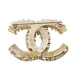 Chanel Black Enamel CC Baroque Pin Brooch